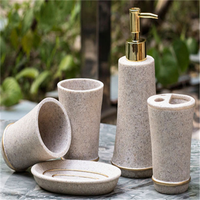European Garden Bathroom Set of Five Bathroom Accessories Dispenser Creative Resin Bathroom Cup Toiletries Soap Saver Jabonera