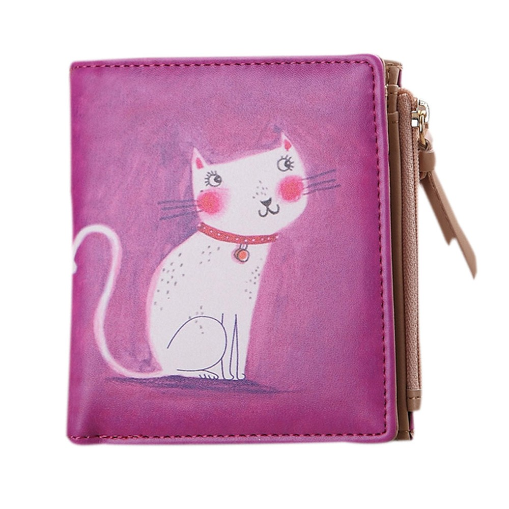 Xiniu Women wallet Retro Vintage Cat print Coin Clip zipper Purse Short Wallet Clutch Handbag carteira feminina billetera mujer кофемолка princess 221040