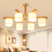 Nordic Retro Wooden LED Pendant Lights for Dining Room Ring Lamp Lustre Wood Kitchen Luminaire Hanging
