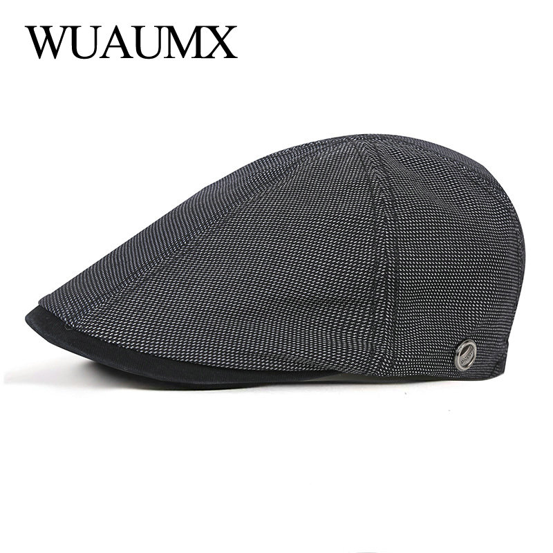 Wuaumx Branded Casual Spring Summer Men Berets Hats Women Newsboy Caps Cabbie Duckbill Ivy Flat Hat Herringbone Adjustable