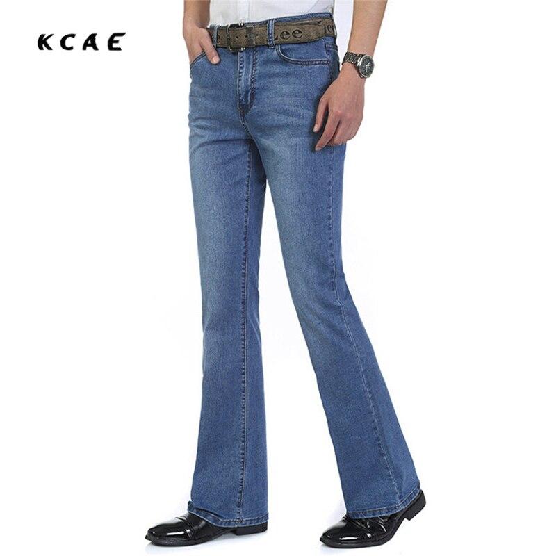 Mens Flared Jeans Boot Cut Leg Flared Wlastic Slim Fit Mid Waist Male Designer Classic Denim Jeans Pants Bell Bottom Jeans Size трубка от муфты уаз 3163