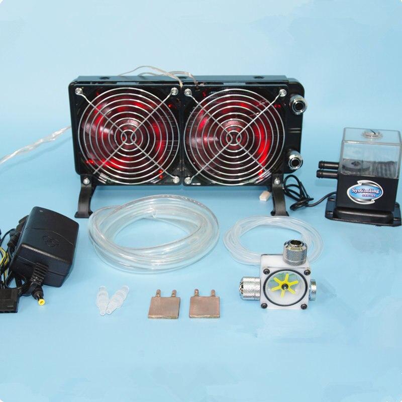 Ноутбук процессор GPU воды жидкостного охлаждения охладитель медный рассеивающий радиатор водяные насосы + резервуары для воды + теплоотвод