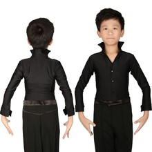 Classical Black Boys Latin Dancing Shirts Kids Stage Performance Costumes Loog Sleeve Modern Tango Dance Clothing Top
