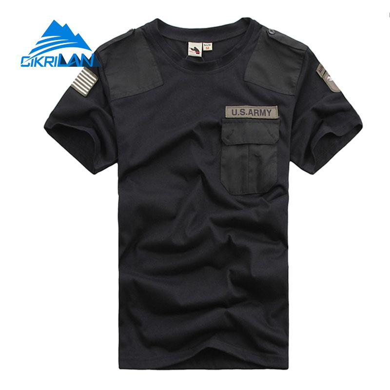 New Mens Summer Leisure Sport Tactical Combat Military T Shirt Short Sleeve Climbing Hiking T-shirt Men O-neck Fitness T-shirts