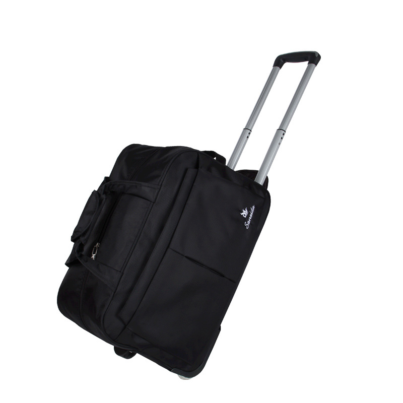 Casual Solid Travel Bag Suitcase Carry On Wheels Trolley Nylon Waterproof Men Women Rolling Travel Luggage Bag With Drawbars Zip