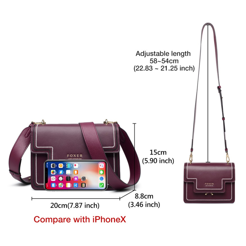 FOXER Brand Split Leather Stylish Women Shoulder Bags Female Large Capacity Luxury Soft Messenger Bags Valentine's Day Gift 3