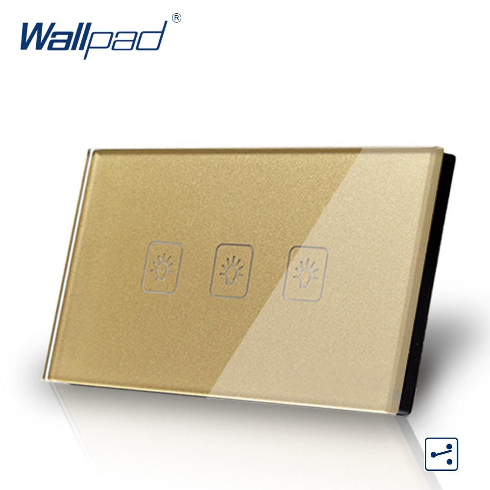 3 Gang 2 Way US/AU Standard Wallpad Touch Switch Touch Screen Light Switch Gold Crystal Glass Panel Free Shipping free shipping us au standard touch switch 2 gang 1 way control crystal glass panel wall light switch kt002us
