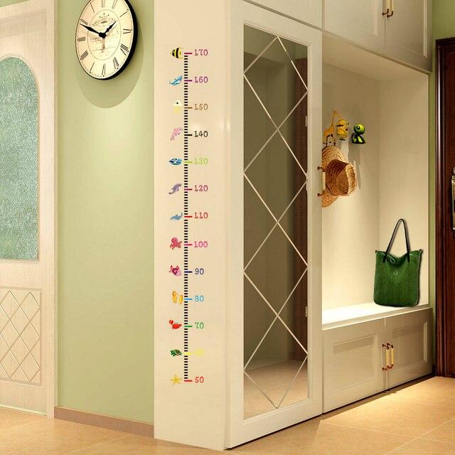 Höhe Messung Wand Aufkleber Cartoon Undersea Tiere Wand Abziehbilder Für  Kinder Baby Nursery Zimmer Dekoration