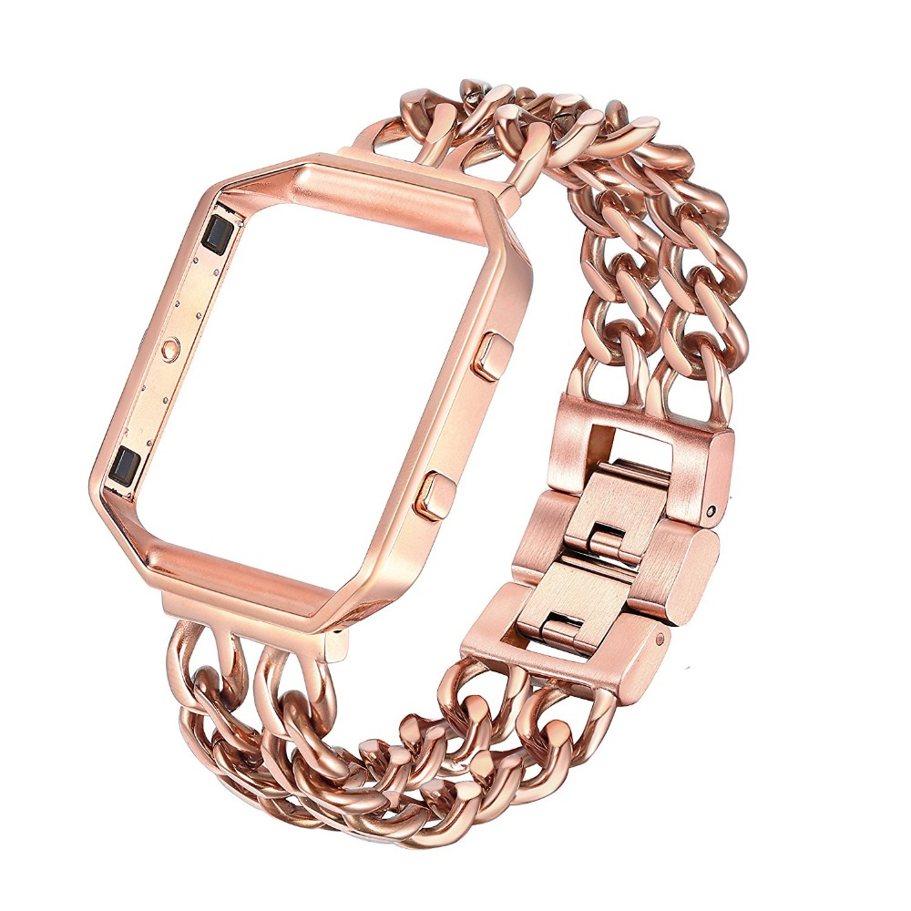 joyozy Replacement Stainless Steel Chain Bands with Metal Frame for Fitbit Blaze Silver Black Rose Gold joyozy replacement stainless steel chain bands with metal frame for fitbit blaze silver black rose gold