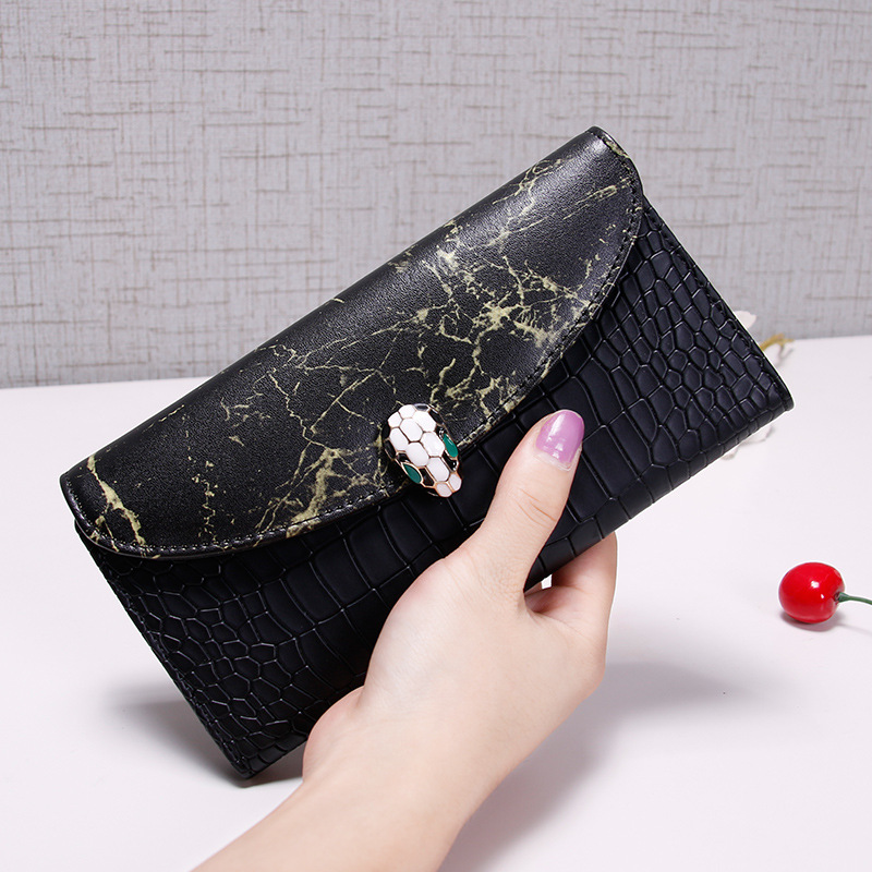 Leather ladies wallet long section Korean wave Japanese and Korean multi-function buckle simple retro large-capacity wallet женские брюки other japanese and korean brands