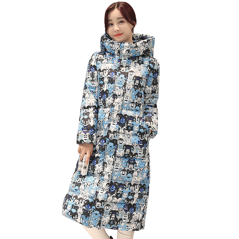 Winter Women Print Coat With Hoody Thick Warm Ladies Hooded Jacket Cotton Down Parkas for Female Outfits fashionable thick hooded pleated down coat for women