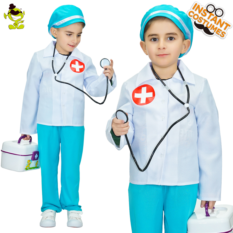 Doctor Costumes Girls Kind Nurse Cosplay Fancy Dress Kids Professional Mediciner Dress-up Clothing for Career Role Play Party