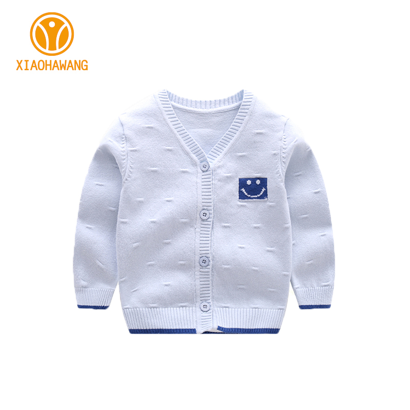Solid Baby Sweater Long Sleeve Baby Boys Sweaters Knitted Cotton Newborn Coat Smile Girls Cardigan Sweaters 2017 Baby Clothing