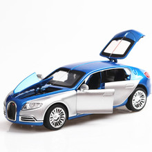 1:32 Bugatti Galibier Sound and light belt pull-back vehicle simulation alloy car model crafts decoration collection toy tools