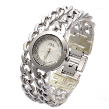 G&D Women Watch Double Chain Stainless Steel Band Women's Silver With Rhinestone Luxury Fashion Quartz Wrist Watch Today's Deal купить недорого в Москве