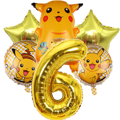 Pokemon Go Pikachu Helium Balloon Pocket Monster Number Boy Golden