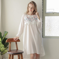New Arrival Spring Autumn Women Princess Nightgowns Lady Royal Long Sleeve Floral White Pure Cotton Sleepwear D154