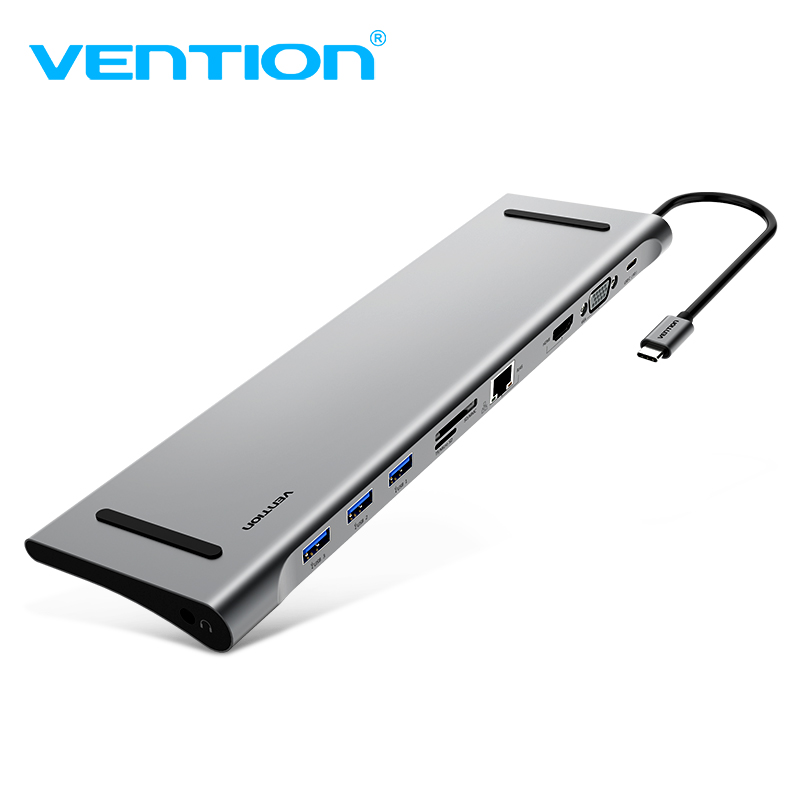 Vention все-в-1 USB C адаптер Тип C к HDMI VGA конвертер USB HUB с SD/ TF Card Reader PD зарядки RJ45 адаптер для MacBook