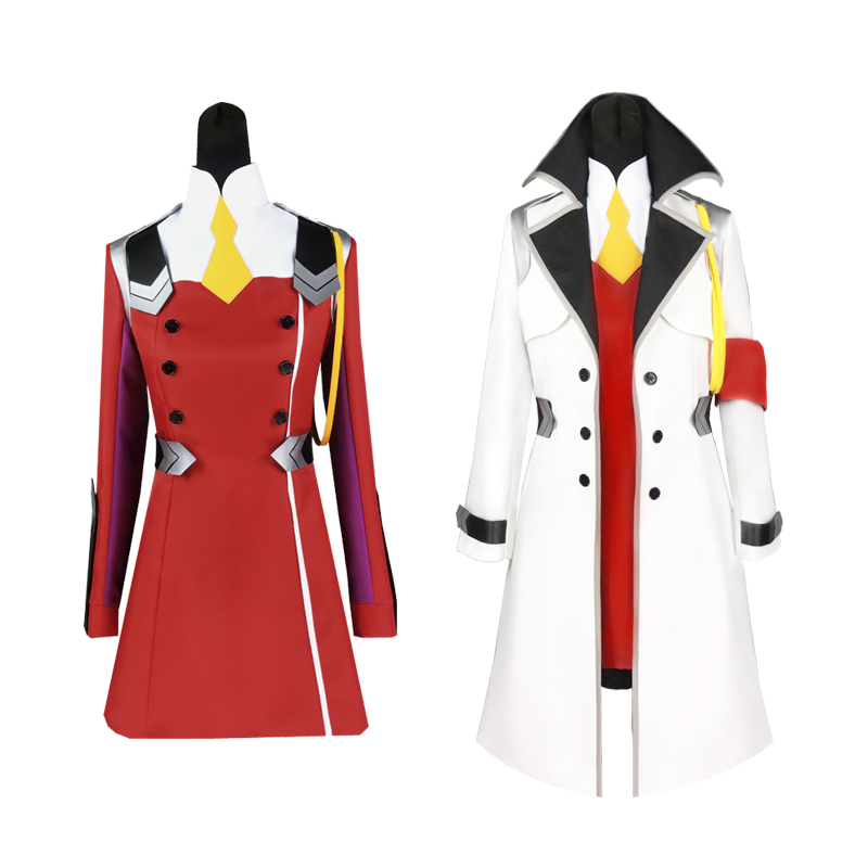 Anime Darling In The Franxx Red Cosplay Costume 02 Cosplay Zero Two Brand Women Dress Full Sets With Wig Hat  Cloak Free Shiping