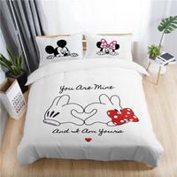 Disney mickey minnie valentine romantic duvet cover set king queen double full twin single size bed linen set