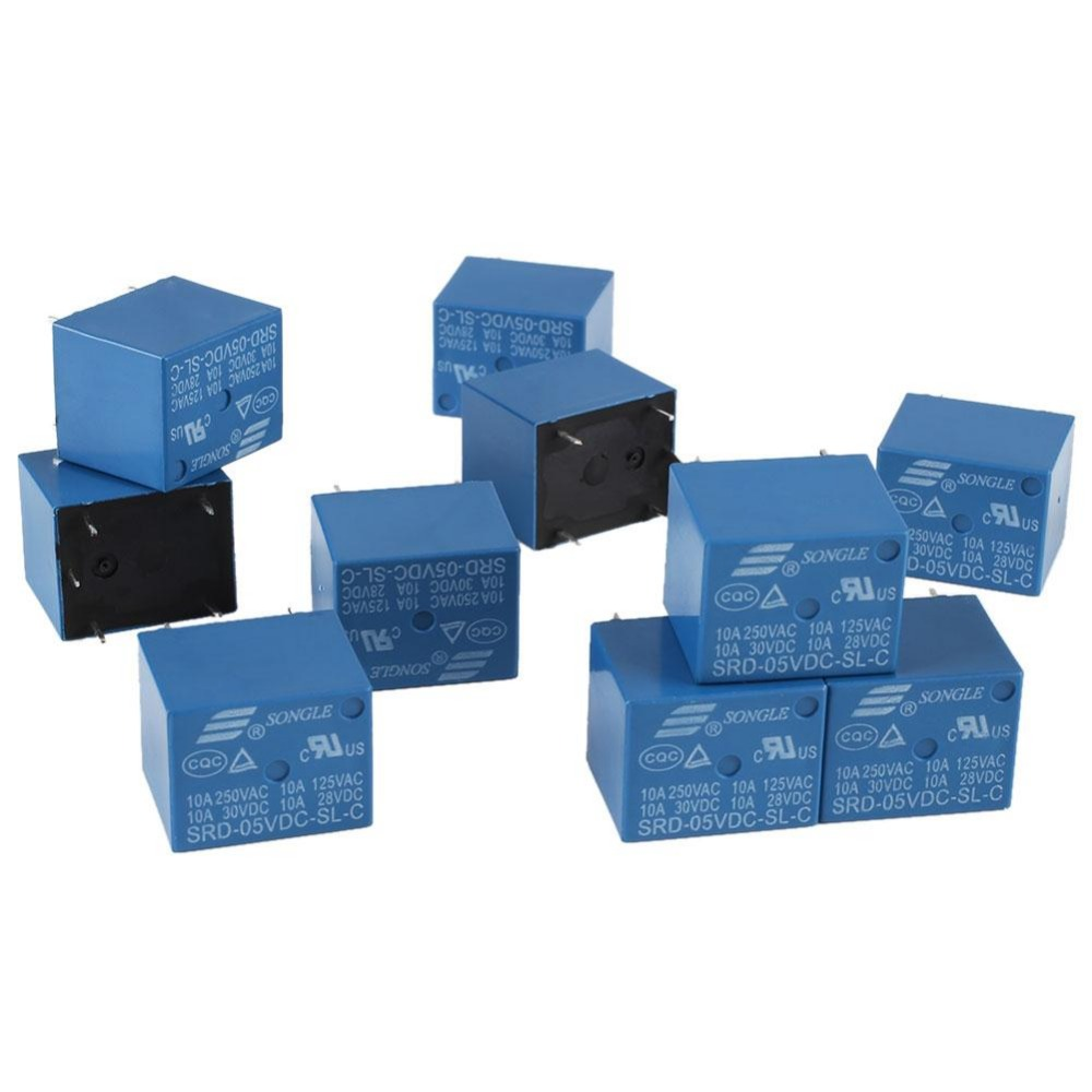 10pcs SRD-05VDC-SL-C PCB for SONGLE DC 5V Mini Power Relay 5 Pin SRD-5VDC-SL-C Blue 10pcs lot srd 5vdc sl c srd 5vdc srd 05v songle power relay dip 4 100