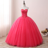 Eslieb Hot Pink Ball Gown Dress Beaded Tulle Evening Gowns Floor Length Evening Dress 2019