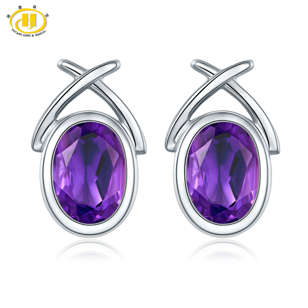 Hutang Classic Oval 7x5mm Natural Amethyst Stud Earrings Solid 925 Sterling Silver Purple Gemstone Fine Jewelry for Women Gift