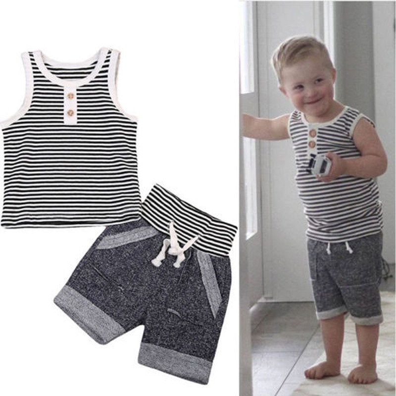 Toddler Kids Baby Boy Clothing Sleeveless Striped Vest Tops+Shorts Pants 2PCS Outfit Cas ...