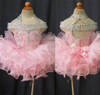 Toddler Pageant Dresses Pink Organza Cupcake Kids Prom Gowns Crystal Beaded Open Back With Bow Formal Girls Birthday Party Dress