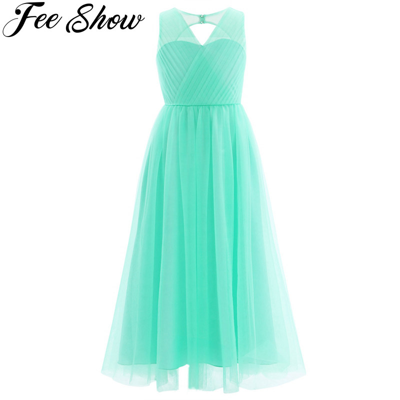 Turquoise   Girls   Mesh Cutout Back   Flower     Girl     Dress   Tulle High quality Party Princess   Dress   Children kids clothes 5colors 4-14Y