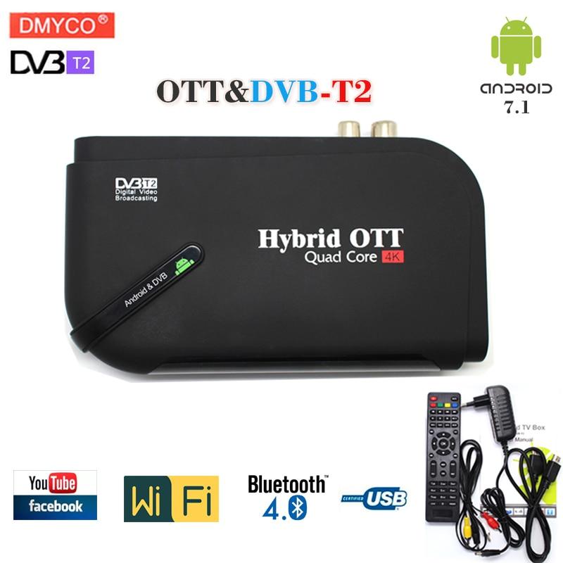 Hot sale mini android 7.1 tv box smart Quad Core OTT/DVB-T2 Wifi dvb-t2 tv tuner support Bluetooth youtube Satellite Receiver android 7 1 1gb 8gb dvb t2 quad core ott bt4 0 h 265 mpeg 4 dvb t2 tv tuner support netflix youtube google 4k smart set top box