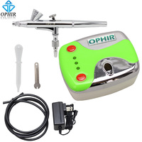OPHIR Portable 0.2 mm Air brush Dual Action Airbrush Kit with Air Compressor for Makeup Face Paint Temporary Tattoo_AC002+AC073
