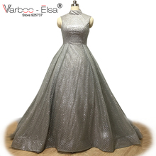 VARBOO_ELSA Silver Sequined Evening Dress Ball Gown