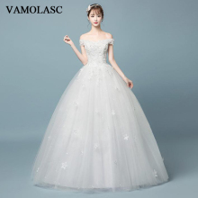 VAMOLASC Off The Shoulder Sequined Ball Gown Wedding Dresses Lace Appliques Boat Neck Backless Bridal Gowns