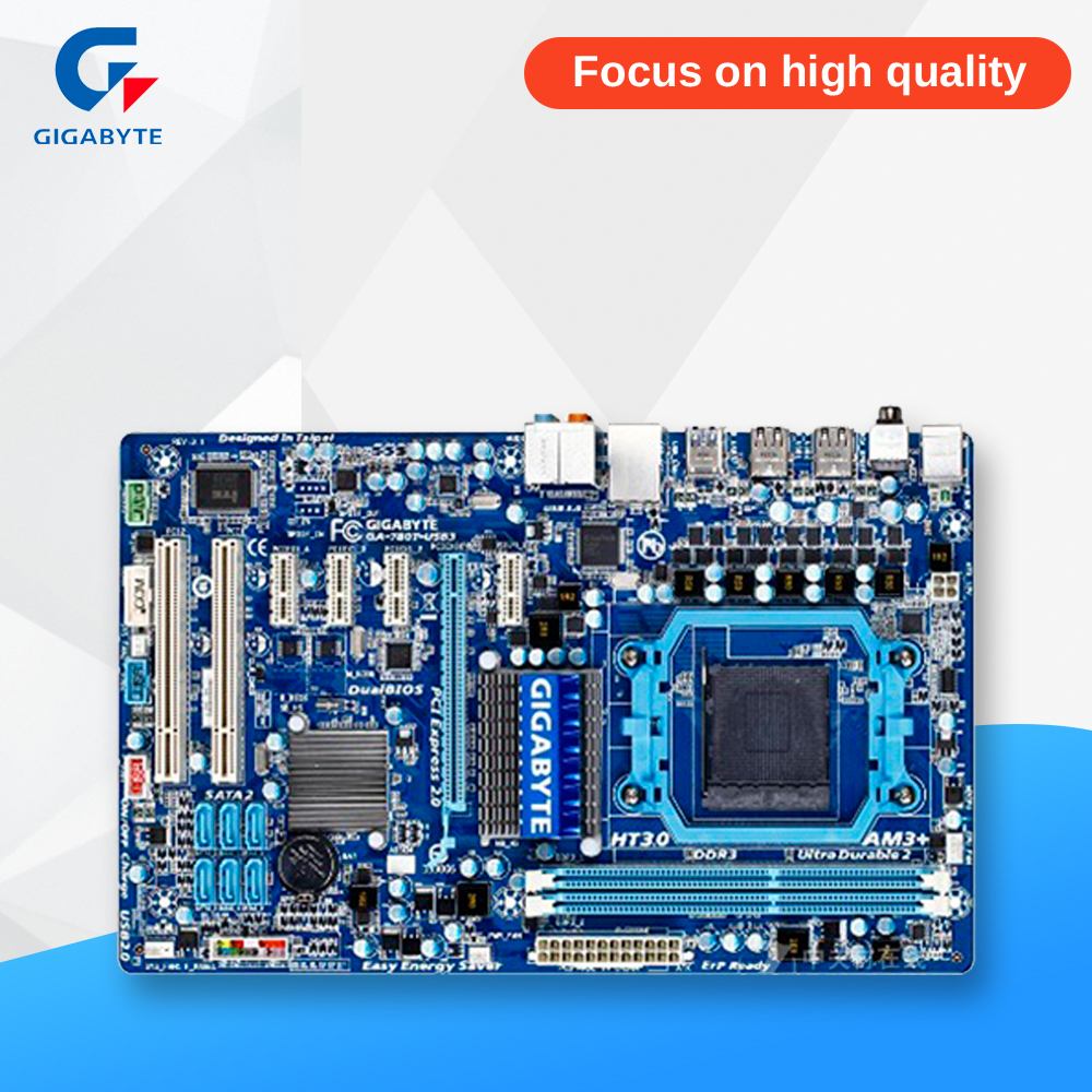 Gigabyte GA-780T-USB3 Desktop Motherboard 760G Socket AM3+ DDR3 SATA2 USB2.0 ATX gigabyte ga 870a usb3 original used desktop motherboard amd 870 socket am3 ddr3 sata3 usb3 0 atx