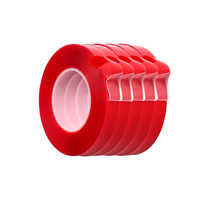 5pcs 3M Red Double Sided Adhesive Tape High Strength Acrylic Transparent No Traces Sticker for Car Auto Interior Fixed
