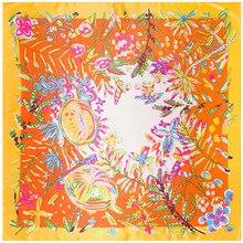 Ropical Floresta Flores Lenço Quadrado Lenços de Seda Sentimento 90 cm Jogo Acessório Do Vestuário Da mulher Da Menina Adicionar Presente Roupas 90FJ18
