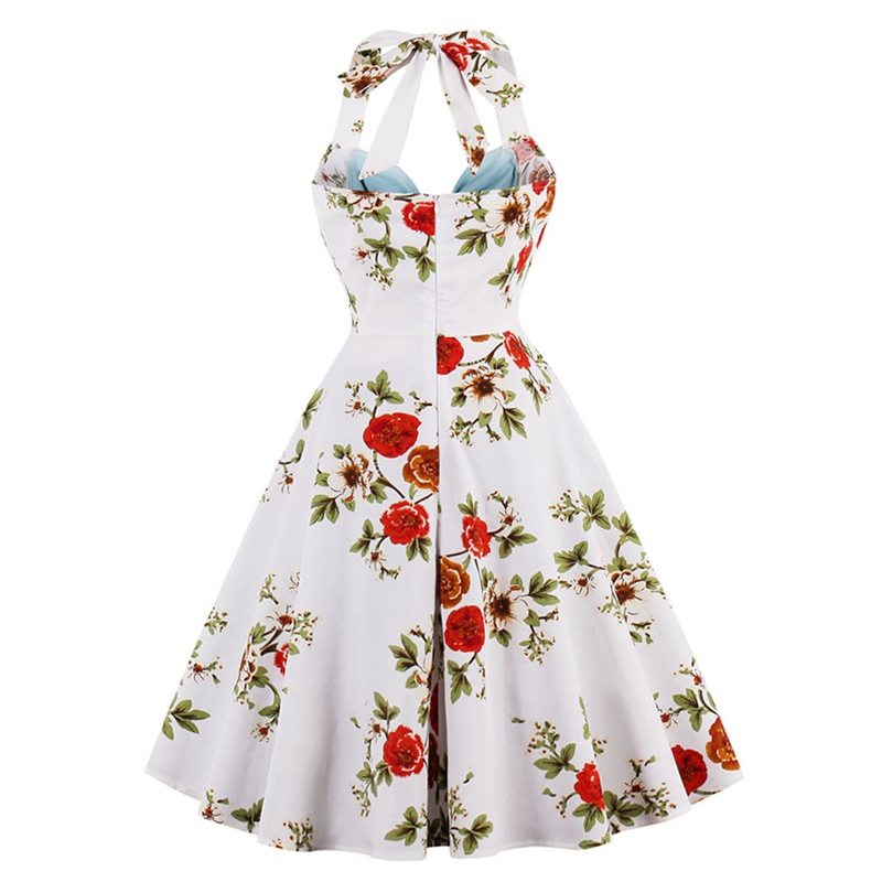 f868845782 2017 Sexy 50s Retro Hepburn Style Sexy Tube Top Halter Dress Front Bow Flower  Print Color blocking for parties-in Dresses from Women s Clothing on ...
