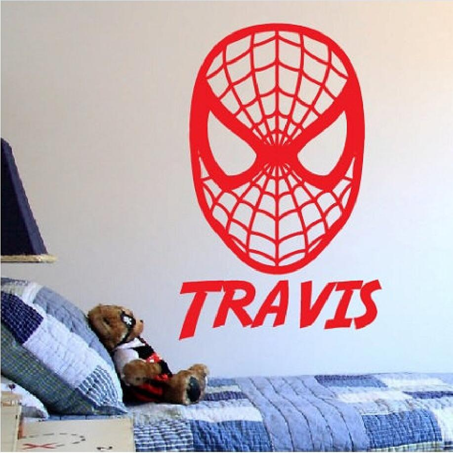 YOYOYU Art Home Decor Custom Personalized Name Spider Man Marvel Cartoon Wall Decal Vinyl Sticker Kid Boy Room Decoration WW 474 in Wall Stickers from Home Garden