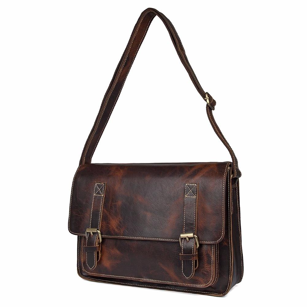 Augus New Product Sling Bag 100% Genuine Leather teenager School Bag Retro Style Handbag Messenger Bag For Boy And Girl 1037Q