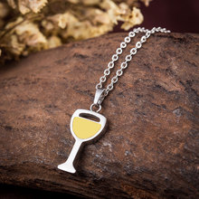 WAWFROK Fashion Women's Red Wine Glass Necklace Pendant Stainless Steel Beer Yellow Necklace Unique Design Jewelry