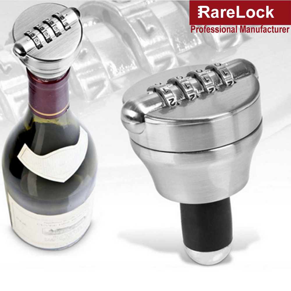 Rarelock Red Wine Bottle Lock Combination Locks Costom Code Password Cork Bottle Stopper Preservation Device Safe Locks f
