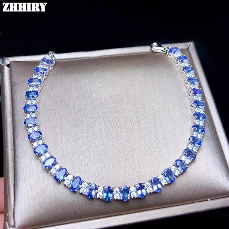 ZHHIRY Real Natural Blue Tanzanite Solid 925 Sterling Silver Bracelet For Wome Genuine Gemstone Fine Jewelry