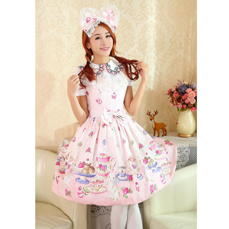 Sweet Lace Sleeveless Lolita Dress With Cup Rabbit Print And Bow Women Cosplay Anime Maid Costume Halloween Party Vestidos anime cosplay lace lolita flower print halloween fancy dress gallus japanese kimono costume
