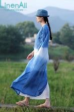 Natural Dyeing clothing women's ramie and cotton 100% handmade natural blue dyeing brief ramie furcal dress robe LinenAll YIJIU