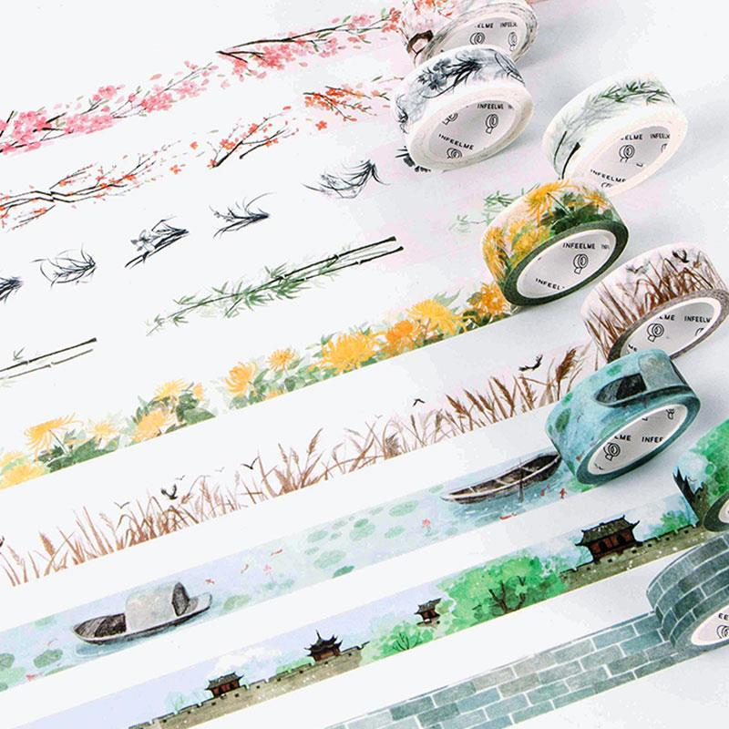 Cute Flower Washi Tape Kawaii Vintage Retro Decorativ Adhesive Tape DIY Masking Tape For Scrapbooking Photo Album Home Decor diy cute kawaii cartoon 5mm slim washi tape lovely fruit adhesive tape for decoration photo album school free shipping 3454 page 5