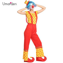 Umorden Purim Carnival Halloween Party Circus Clown Costumes for Women Adult Cosplay Costume Set Rompers