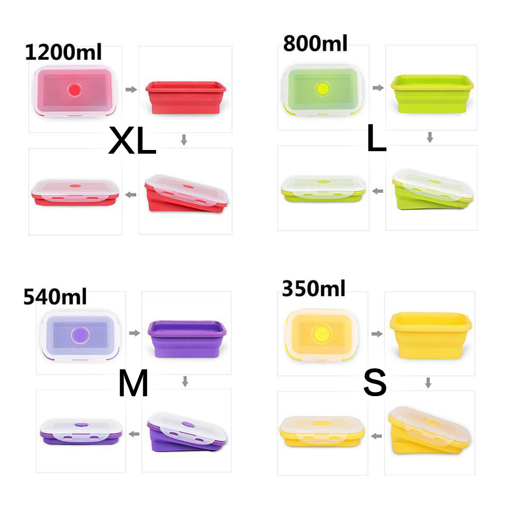 Silicone Portable Bowl Bento Boxes Container Lunchbox