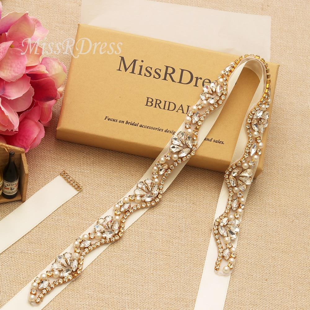 Wedding Gown Belts And Sashes: MissRDress Feminine Bridal Dress Belt Gold Crystal Ribbons