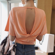 цены на Letter Embroidery Summer Women T Shirt Sexy Back Open Backless Loose Casual Tops Hollow Out T-shirt Women Tee Tops Short Sleeve в интернет-магазинах